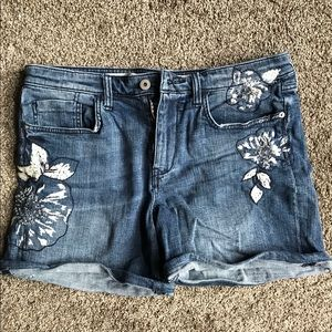 Gently worn embroidered jean shorts Anthropologie